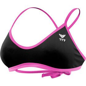TYR Solid Crosscut Haut de maillot de bain à nouer Femme, black/pink